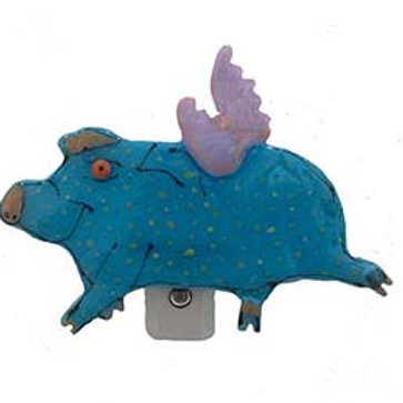 When Pigs Fly Fused Glass Night Light