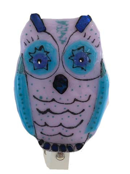 Blue/Purple Owl Fused Glass Night Light