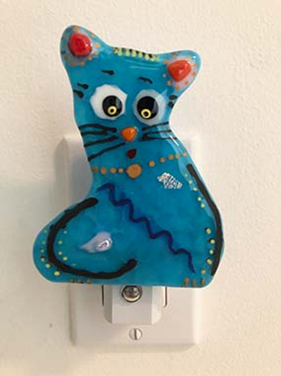 Blue Cat Fused Glass Night Light