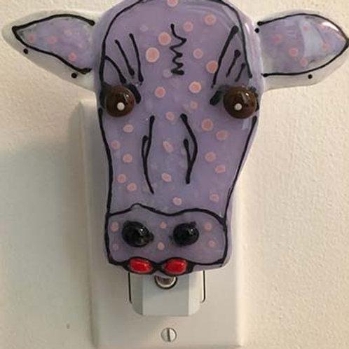 Purple Cow Fused Glass Night Light