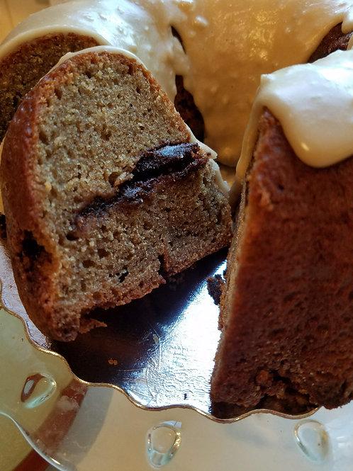Cinnamon Swirl Cake with Dark Robust Maple Glaze