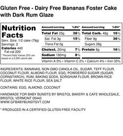 Gluten Free - Dairy Free Bananas Foster Cake with Dark Rum Glaze - Nutrition Label (1)