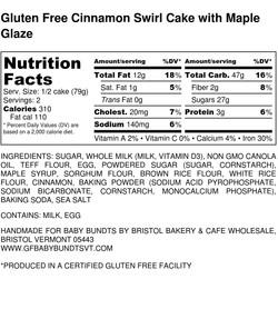 Gluten Free Cinnamon Swirl Cake with Maple Glaze - Nutrition Label (1)