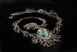 Turquoise Stone with Sterling Silver Necklace