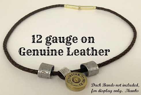 Leather Necklace with Shotgun Pendant back in sterling silver