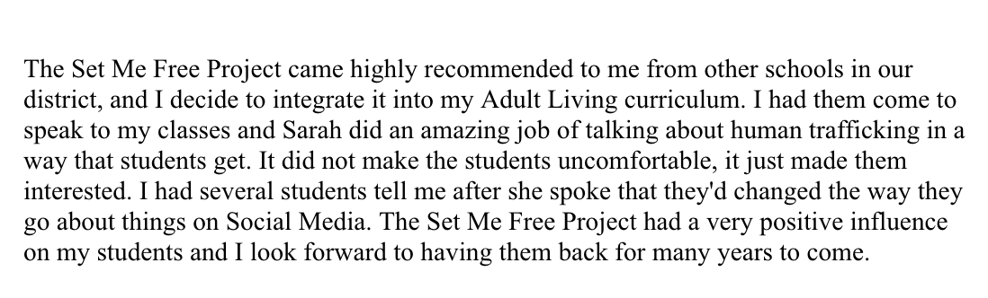 Testimonial provided by Millard North educator.