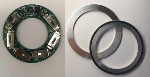 The data logger with all parts and the custom design grooved washers