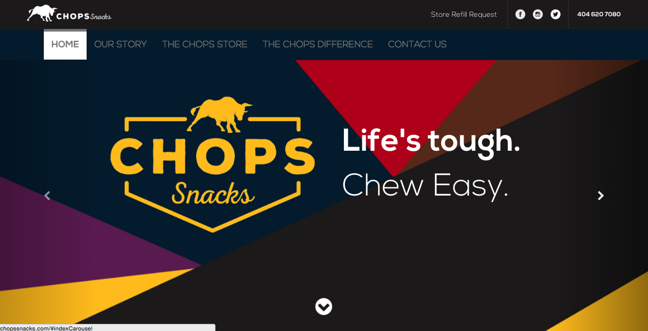 Chops snacks website