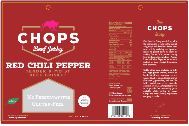 Chops snacks packaging