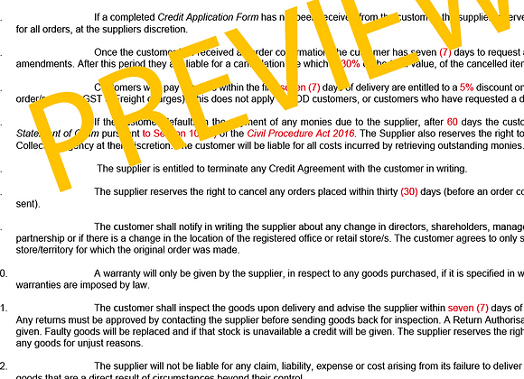WHOLESALE TERMS & CONDITIONS TEMPLATE