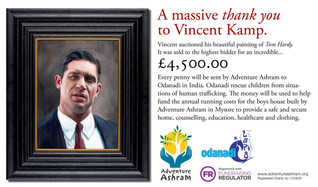 Artist Vincent Kamp auctioned his beautiful portrait of Tom Hardy and the winning bid was... £4,500.
