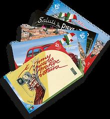 Le cartoline per la Filatelica di Albenga e annullo alle cartoline, il Piatto Blu al Palazzo Oddo e il Fiat 500 Club Italia con il museo e le sue 500.