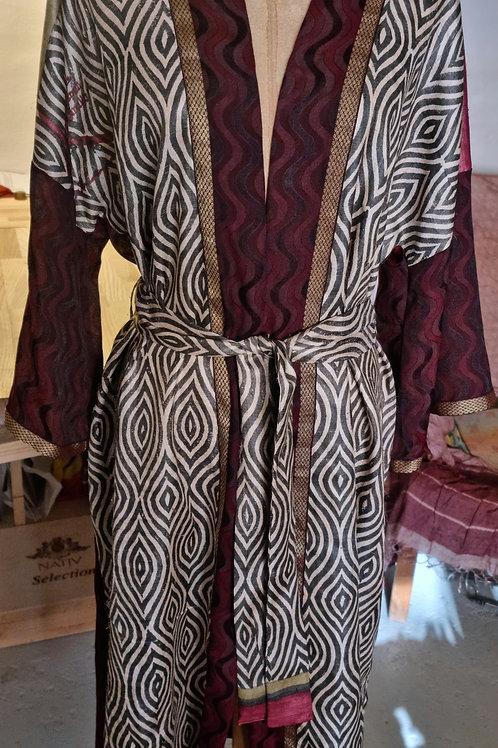 Kimono i vintagesilke, str L/XL