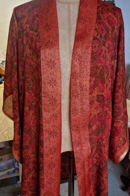 Kort kimono i vintagesilke, str. S