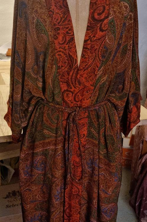 Kimono m korte ærmer i vintagesilke, str M/L