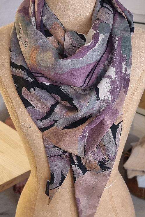 Dobbeltsyet vintagesilketørklæde, trekantet