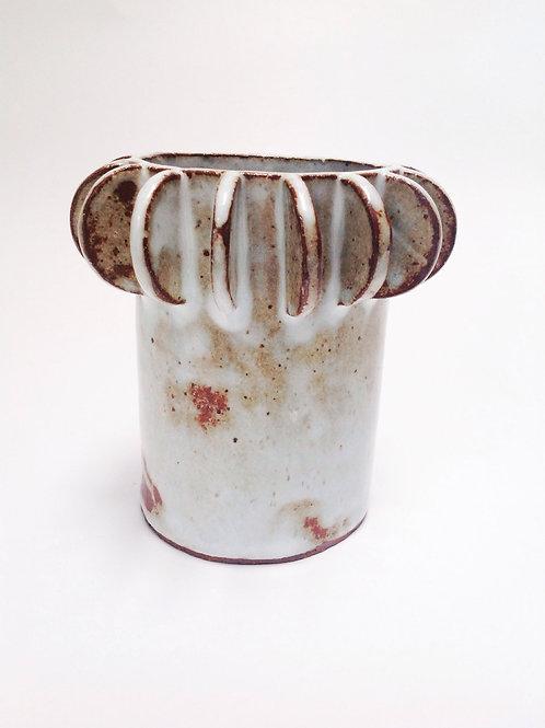 Architectural Hand Built Stoneware Cylinder Vase