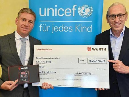 Würth Group donates 120.000 euro to UNICEF