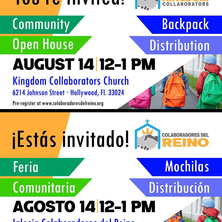Community Open House · Backpack Distribution   -   Feria Comunitaria · Distribucion de Mochilas