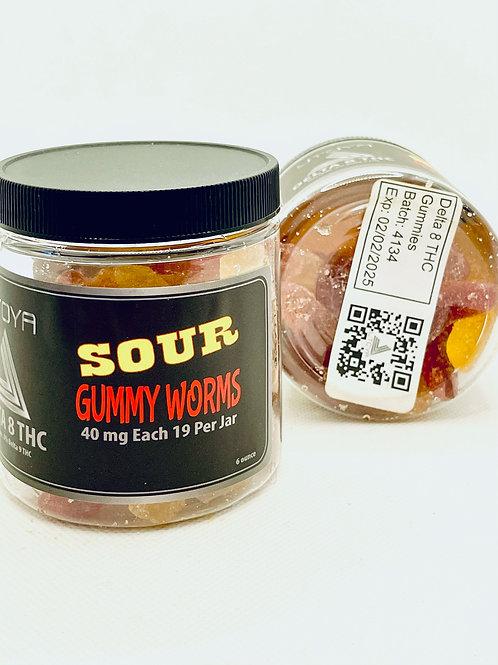 Delta 8 THC Organic Sour Gummy Worms 40 mg 19 pc Jar (UTOYA)