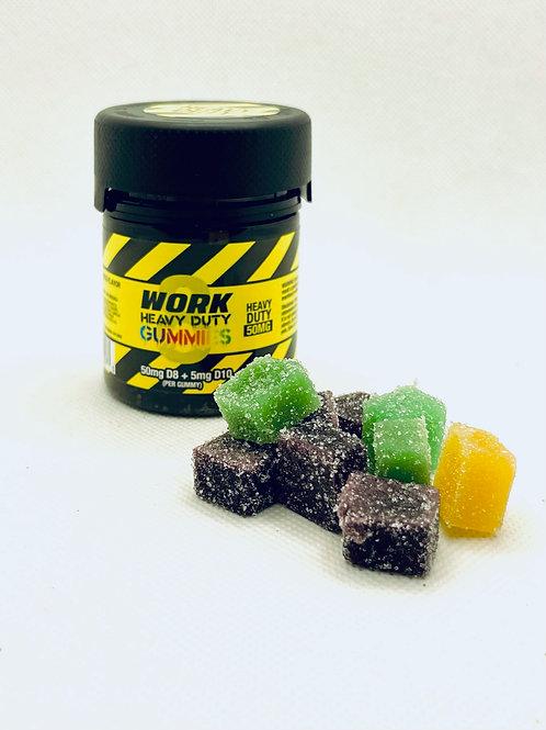Work Delta 8 THC D10 Heavy Duty Gummies – Mixed Fruit 50mg 10 Count