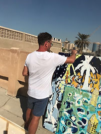 Painting on the rooftop of The Majlis Ga