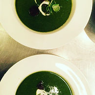 Watercress, chick pea and rose water sou