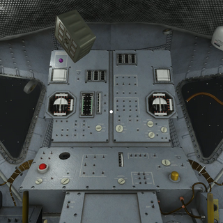 View of Lunar Module's carefully-rendered interior with floating objects