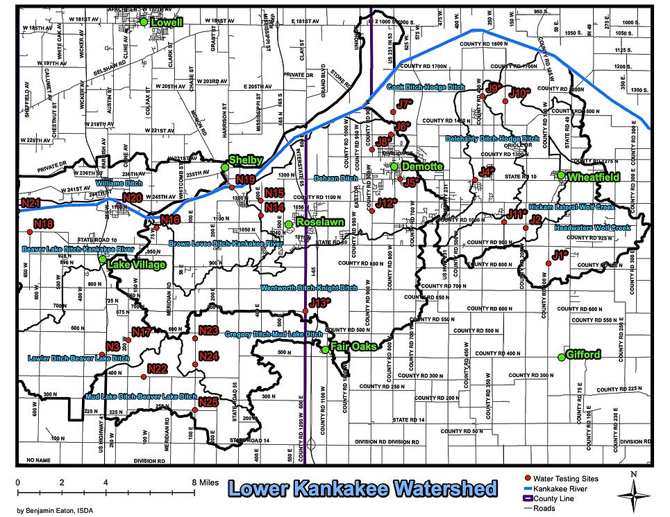 Lower Kankakee HUC 12 Water Testing Map