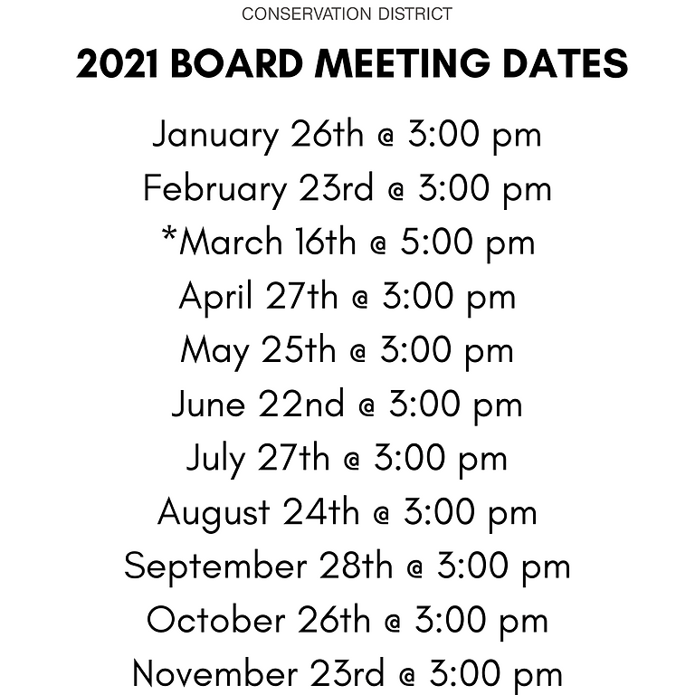 2021 Jasper SWCD Board Meetings