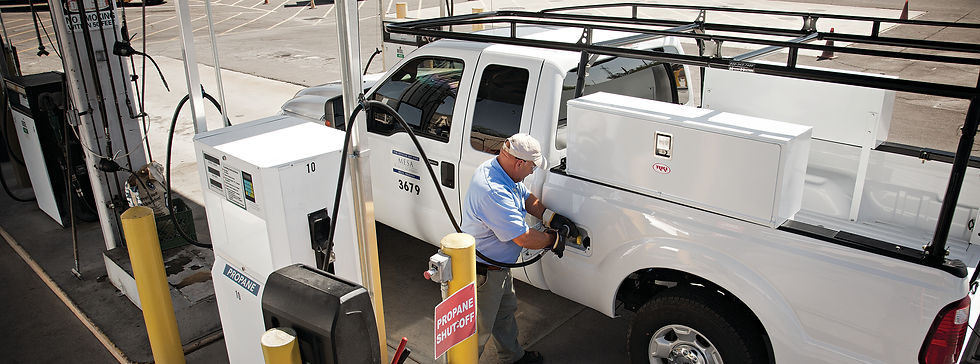 Propane autogas dispenser, refueling procedure, filling the truck with LPG