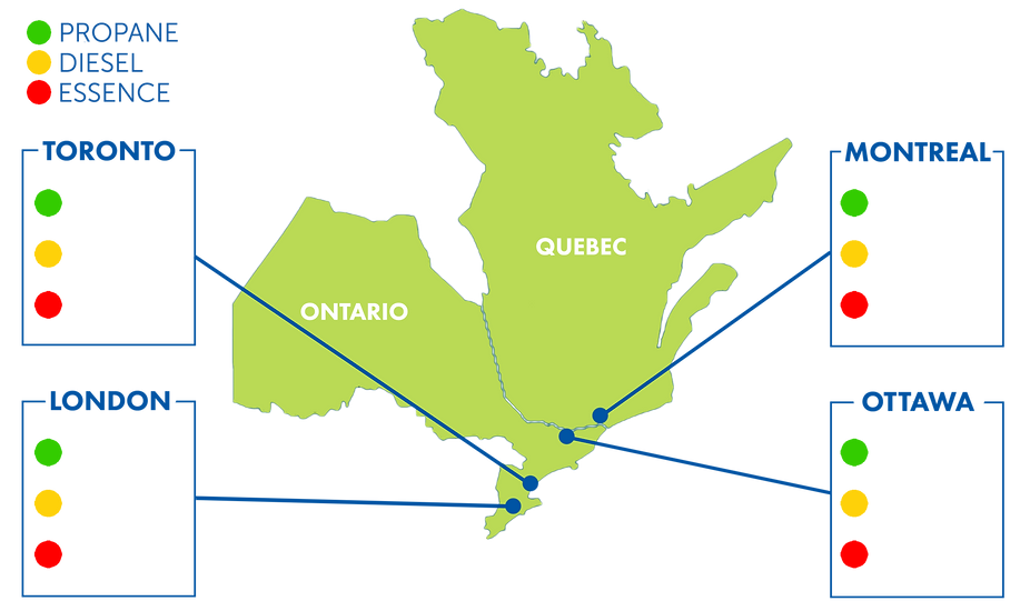 QUEBEC AND ONTARIO - PRICING and PRICES MAP. Cost of propane for Toronto, London, Montreal, and Ottawa
