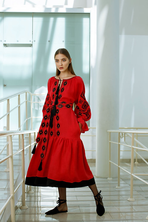 Midi dress in Fiery red with Harmony weaves embroidery
