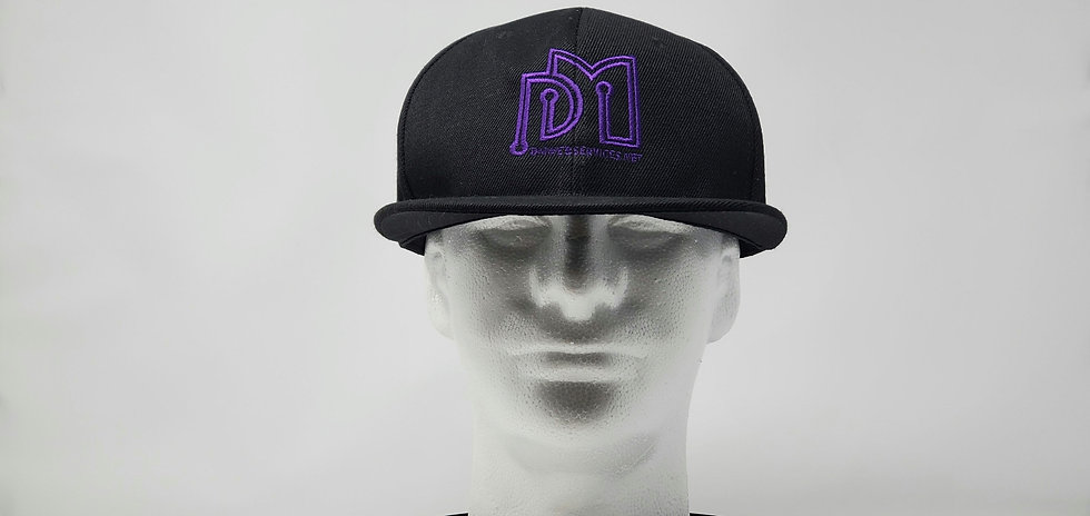 Black Embroidered DM Web Services Cap (Purple Letters)