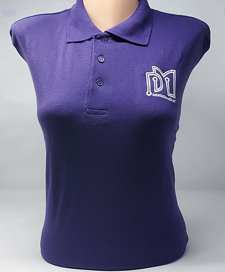 Short-Sleeve Embroidered Purple Collared Shirt
