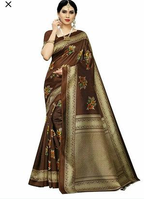 KSUT  Art Silk Madhubani Print Saree For Women With Blouse Piece.   ---- Brown