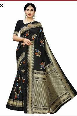KSUT  Art Silk Madhubani Print Saree For Women With Blouse Piece.(Black)