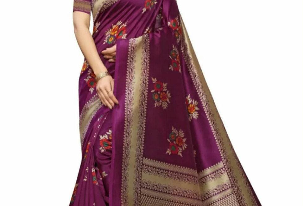 KSUT  Art Silk Madhubani Print Saree For Women With Blouse Piece.(magenta)