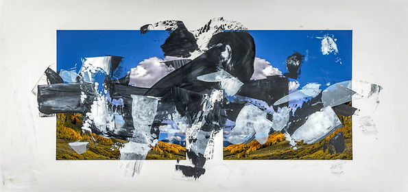 "Doug Kacena, Redacted Landscape V   Acrylic and Arrival Pigment on Paper, 21 x 44"", Private Collection"