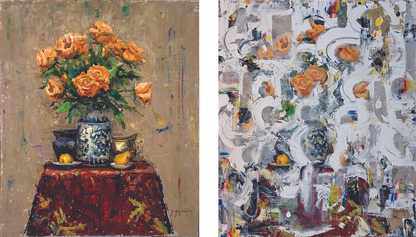 "Robert Spooner, ""Studio Arrangement,"" oil on panel, 36x30 (left), painted over by Doug Kacena to become ""Refurbished Floral III"" (right)"