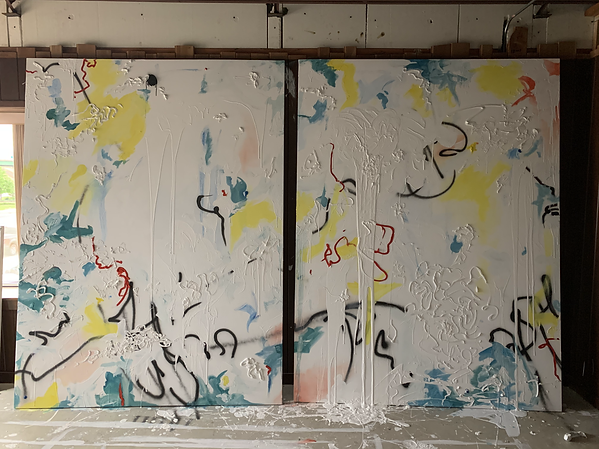 Doug Kacena, Studio View (2020) of works in process,  96 x 60 each
