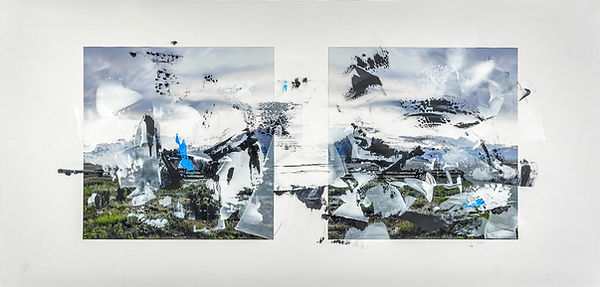 "Doug Kacena, Redacted Landscape IV,   Acrylic and Arrival Pigment on Paper, 21 x 44"", Private Collection"