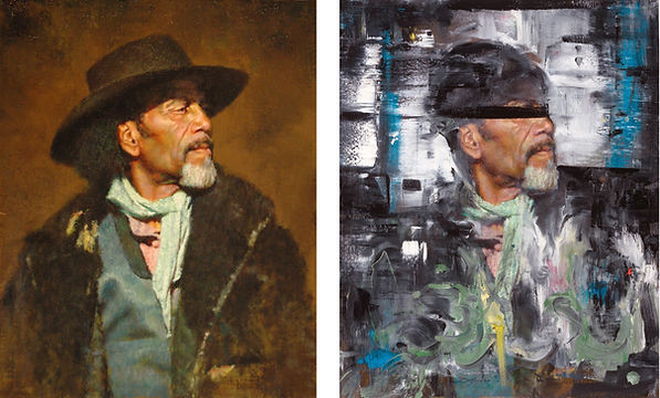 "Ed Kucera's ""The Frontiersman,"" oil on panel, 20x16 (left), painted over by Doug Kacena to become ""The Traveler - Just Us "" (right)"
