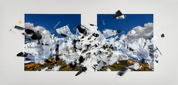 "Doug Kacena, Redacted Landscape VIII, Acrylic and Arrival Pigment on Paper, 21 x 44"",  Collection of the InterContinental, MN"
