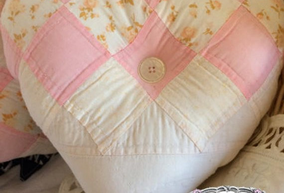 Heart-Shaped Pink and Off White Pillow From Vintage Quilt