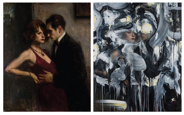 "Ron Hicks', ""Intimate Encounter,"" 50x40, oil on canvas (left), painted over by Doug Kacena to become ""Redacted Memory"" (right)"