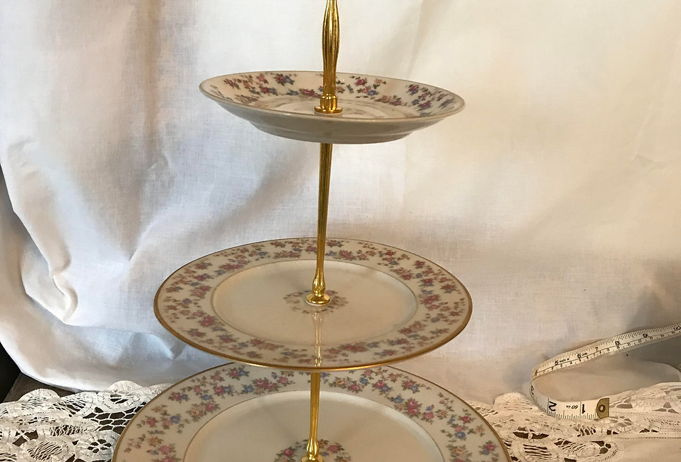 Pink Floral Plate 3 Tiered Serving Stand
