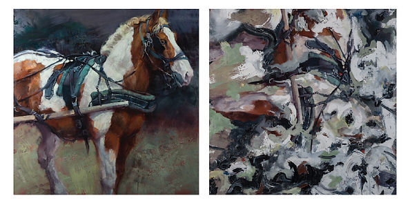 "Jill Soukup's ""Paint in New York,"" oil on canvas, 48 x 448  (left), painted over by Doug Kacena to become ""Release "" (right)"
