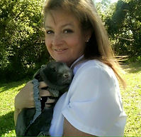 Myself (Elizabeth) with my grey hare friend, Theodore!