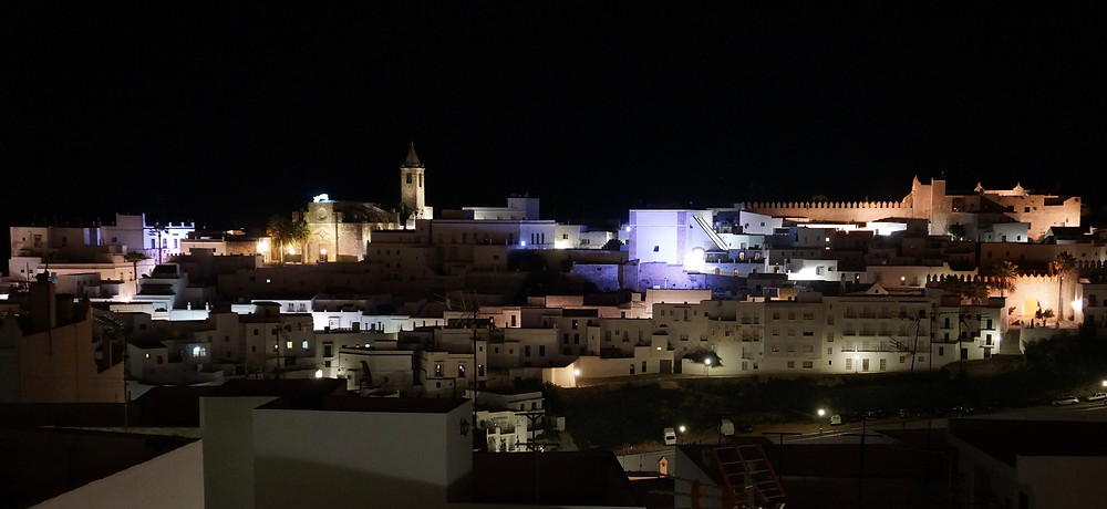 Vejer central church and castle by night from Casa Colina Blanca